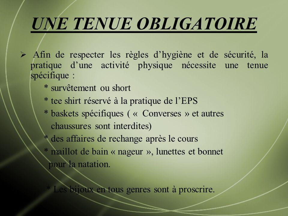 UNE TENUE OBLIGATOIRE Afin de respecter les règles dhygiène et de sécurité, la pratique dune activité physique nécessite une tenue spécifique : * surv