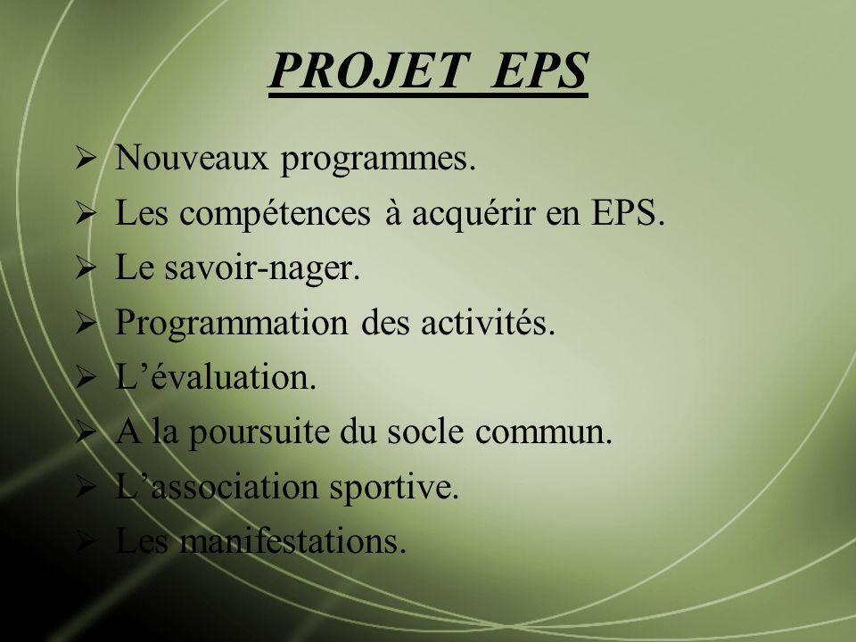 PROJET EPS Nouveaux programmes. Les compétences à acquérir en EPS. Le savoir-nager. Programmation des activités. Lévaluation. A la poursuite du socle