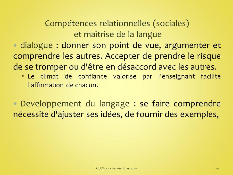 Compétences relationnelles (sociales) et maîtrise de la langue dialogue : donner son point de vue, argumenter et comprendre les autres.