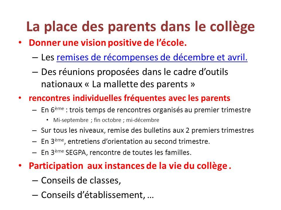 La place des parents dans le collège Donner une vision positive de lécole. – Les remises de récompenses de décembre et avril.remises de récompenses de