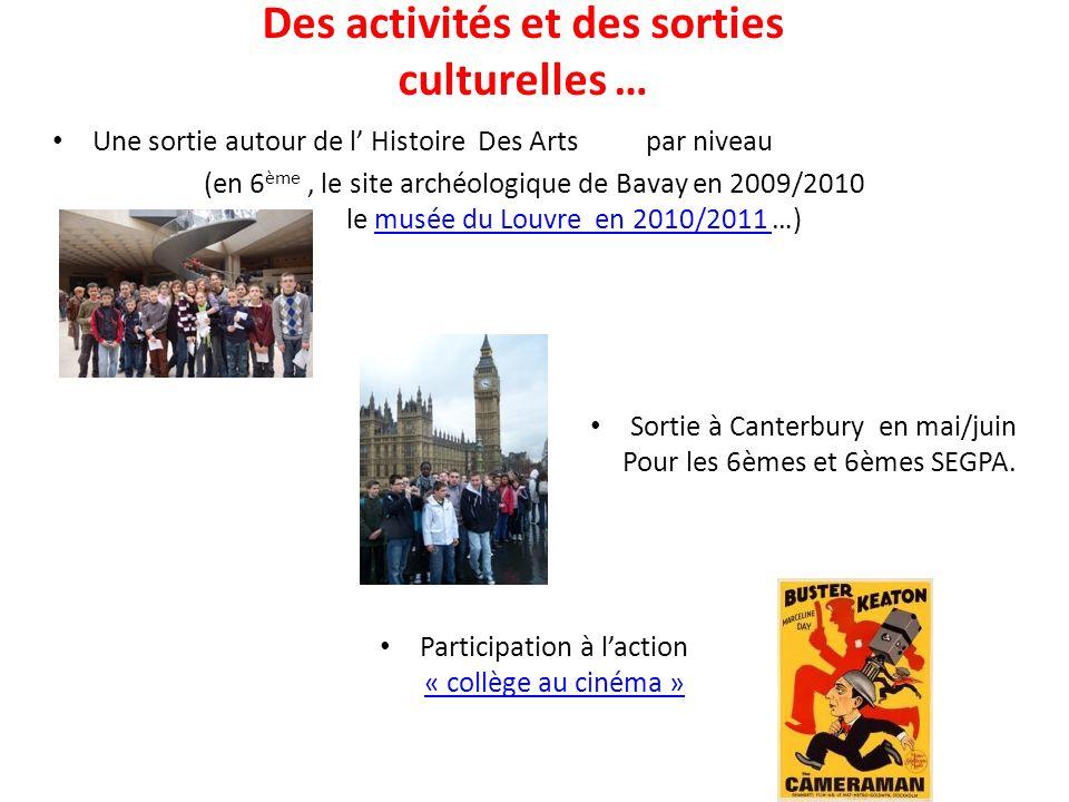 Des activités et des sorties culturelles … Une sortie autour de l Histoire Des Arts par niveau (en 6 ème, le site archéologique de Bavay en 2009/2010