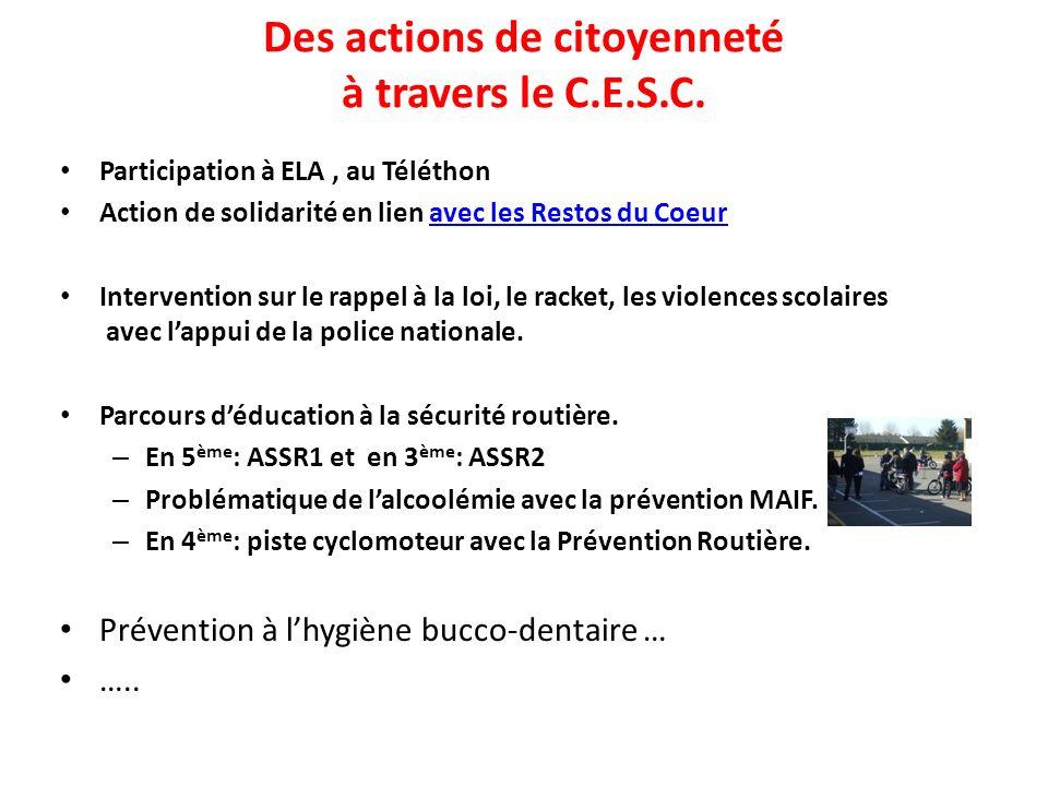 Des actions de citoyenneté à travers le C.E.S.C. Participation à ELA, au Téléthon Action de solidarité en lien avec les Restos du Coeuravec les Restos