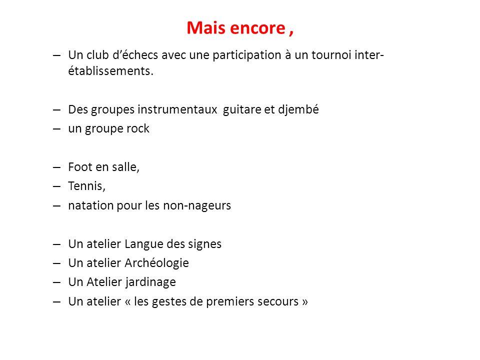 Mais encore, – Un club déchecs avec une participation à un tournoi inter- établissements. – Des groupes instrumentaux guitare et djembé – un groupe ro