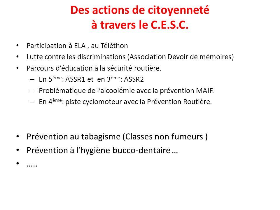 Des actions de citoyenneté à travers le C.E.S.C. Participation à ELA, au Téléthon Lutte contre les discriminations (Association Devoir de mémoires) Pa