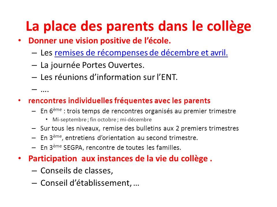 La place des parents dans le collège Donner une vision positive de lécole.