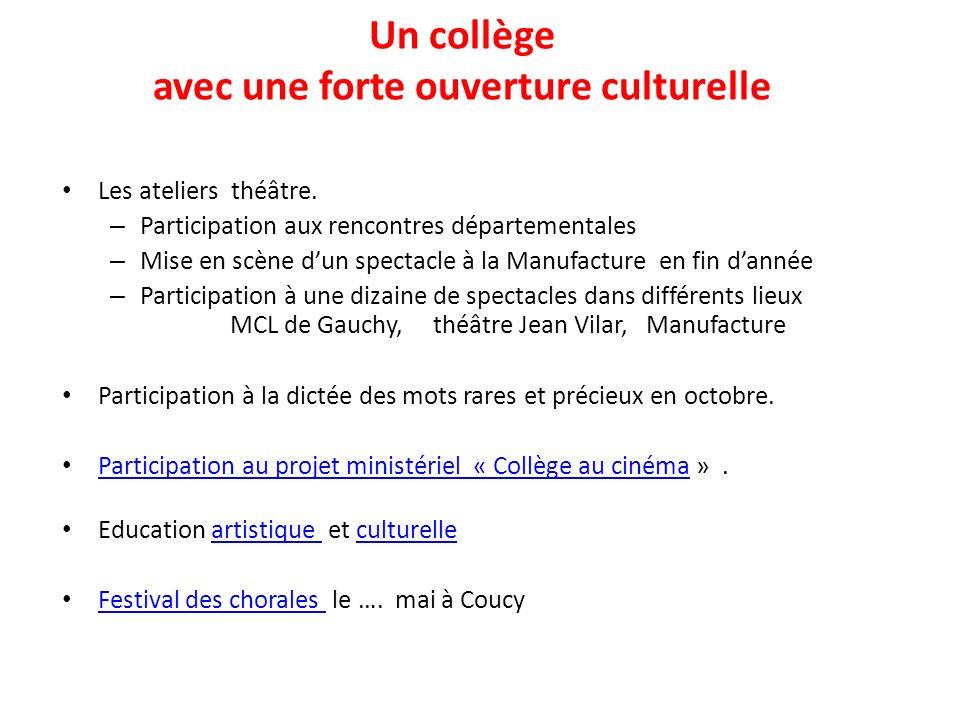 Un collège avec une forte ouverture culturelle Les ateliers théâtre. – Participation aux rencontres départementales – Mise en scène dun spectacle à la