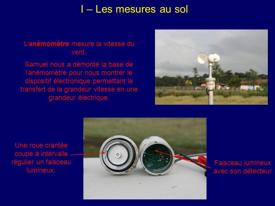 I – Les mesures au sol Lanémomètre mesure la vitesse du vent.
