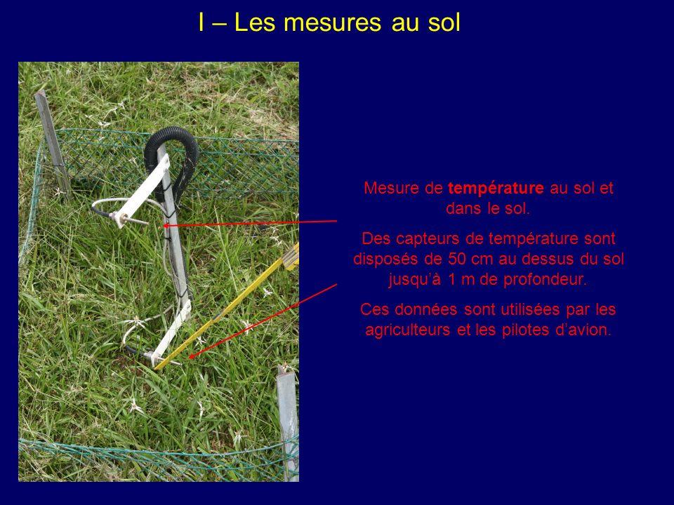 I – Les mesures au sol Mesure de température au sol et dans le sol.