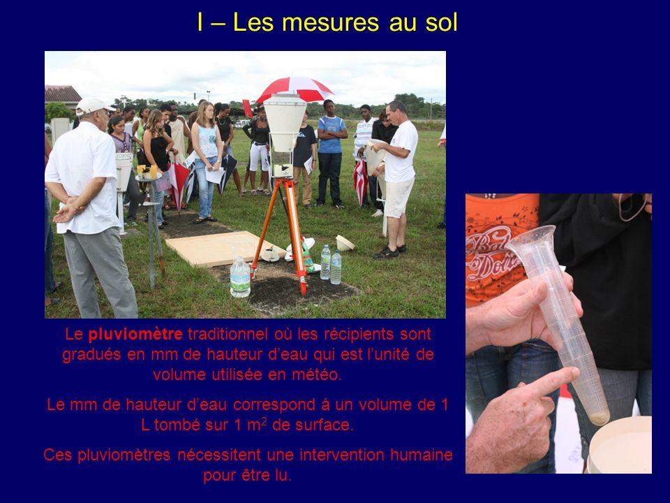 I – Les mesures au sol Le pluviomètre traditionnel où les récipients sont gradués en mm de hauteur deau qui est lunité de volume utilisée en météo.