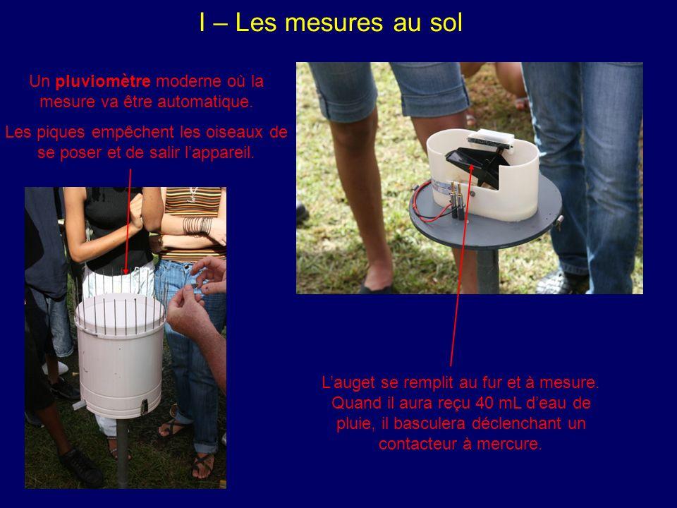 I – Les mesures au sol Lauget se remplit au fur et à mesure.