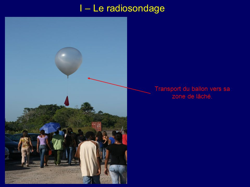 I – Le radiosondage Transport du ballon vers sa zone de lâché.