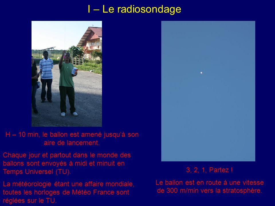 I – Le radiosondage H – 10 min, le ballon est amené jusquà son aire de lancement.