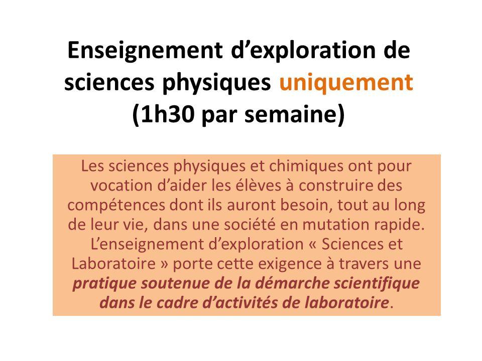 Enseignement dexploration de sciences physiques uniquement (1h30 par semaine) Les sciences physiques et chimiques ont pour vocation daider les élèves à construire des compétences dont ils auront besoin, tout au long de leur vie, dans une société en mutation rapide.