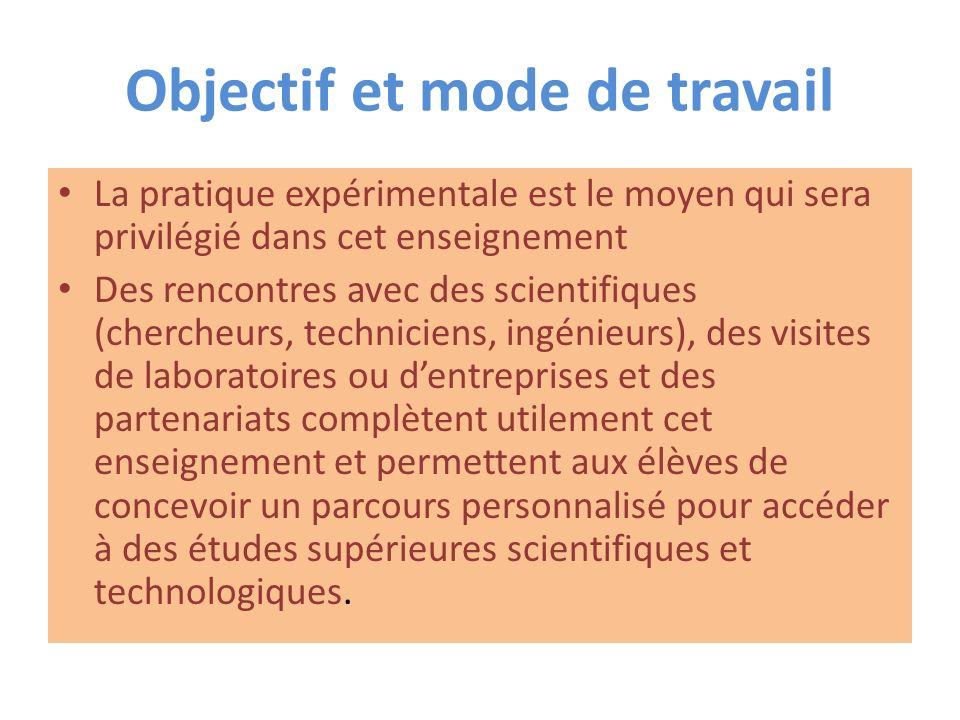 Objectif et mode de travail La pratique expérimentale est le moyen qui sera privilégié dans cet enseignement Des rencontres avec des scientifiques (ch
