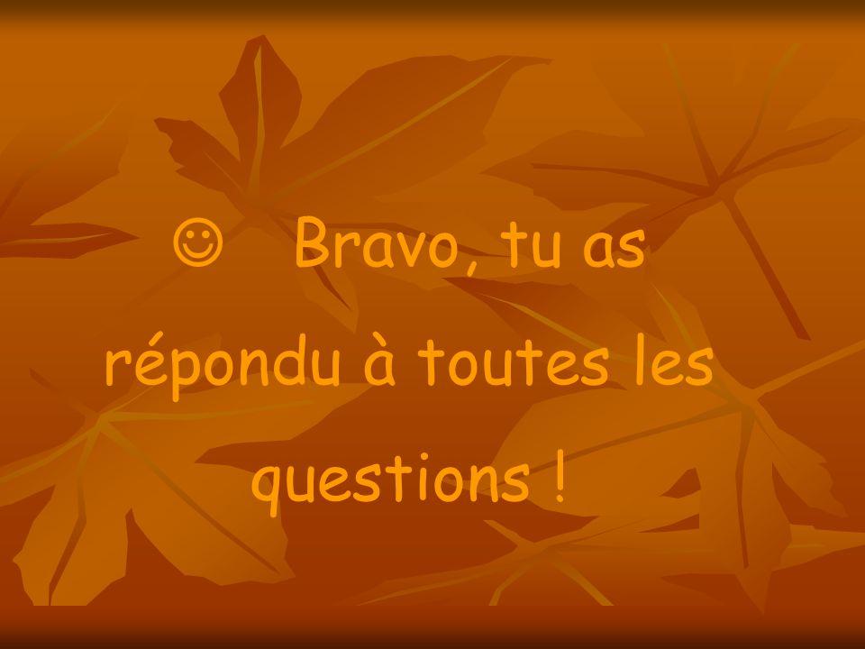 Bravo, tu as répondu à toutes les questions !