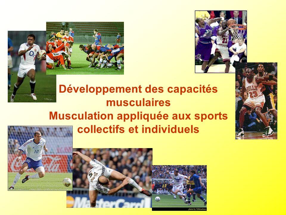 Développement des capacités musculaires Musculation appliquée aux sports collectifs et individuels
