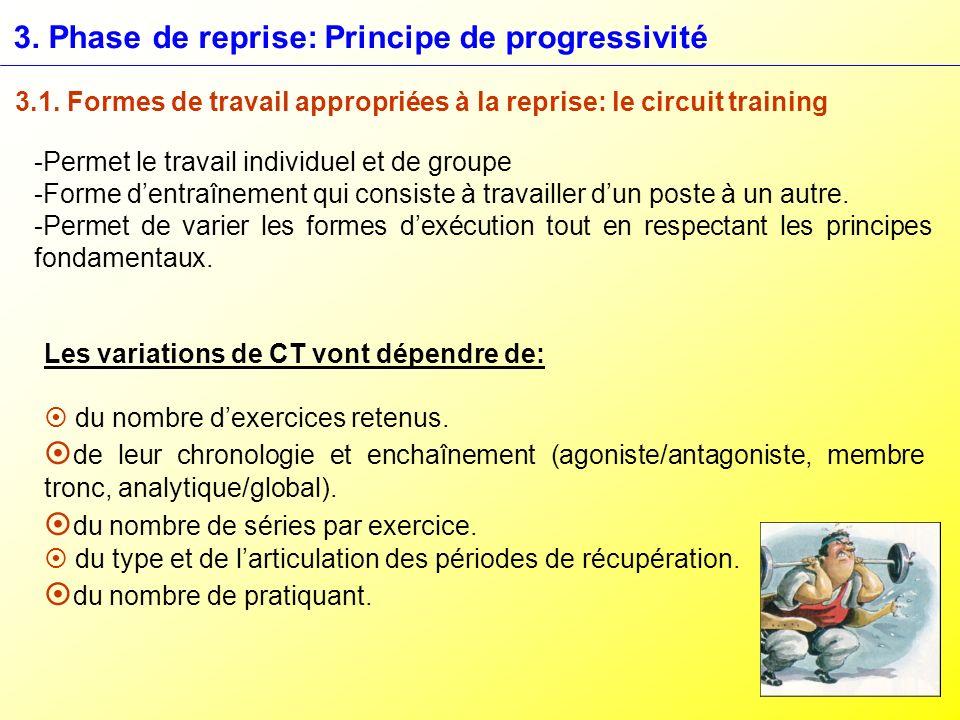 3. Phase de reprise: Principe de progressivité 3.1. Formes de travail appropriées à la reprise: le circuit training -Permet le travail individuel et d