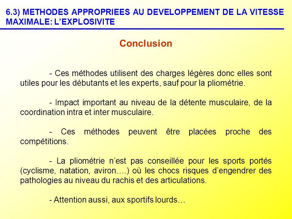 6.3) METHODES APPROPRIEES AU DEVELOPPEMENT DE LA VITESSE MAXIMALE: LEXPLOSIVITE Conclusion - Ces méthodes utilisent des charges légères donc elles son