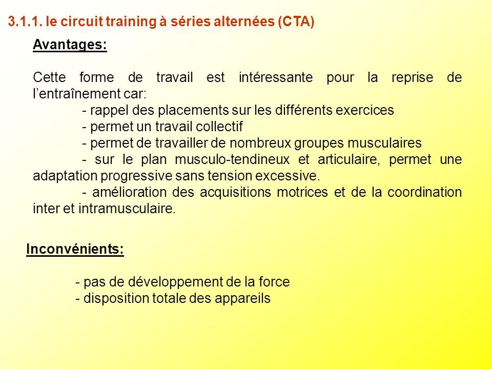 3.1.1. le circuit training à séries alternées (CTA) Avantages: Cette forme de travail est intéressante pour la reprise de lentraînement car: - rappel