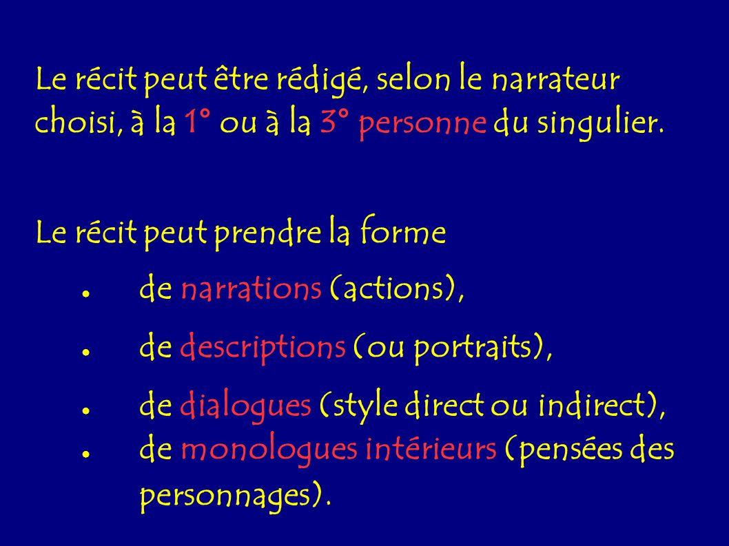 Le récit peut être rédigé, selon le narrateur choisi, à la 1° ou à la 3° personne du singulier. Le récit peut prendre la forme de narrations (actions)