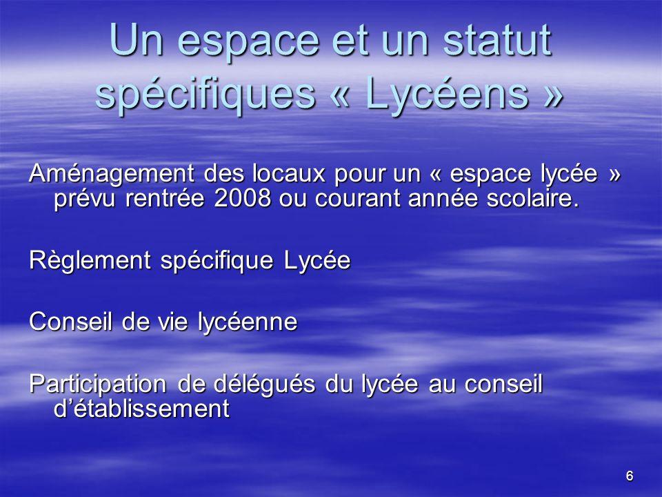 6 Un espace et un statut spécifiques « Lycéens » Aménagement des locaux pour un « espace lycée » prévu rentrée 2008 ou courant année scolaire.