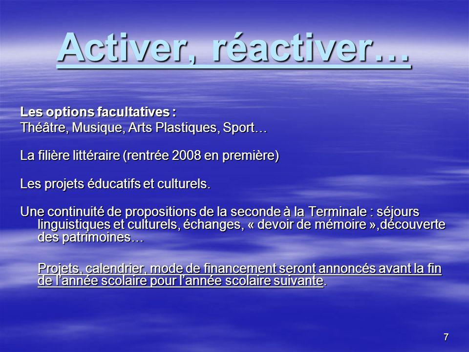 7 Activer, réactiver… Les options facultatives : Théâtre, Musique, Arts Plastiques, Sport… La filière littéraire (rentrée 2008 en première) Les projets éducatifs et culturels.