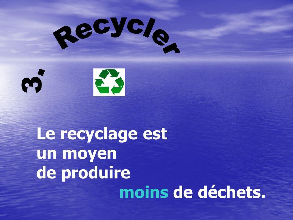 Réutiliser Une façon d'aider l'environnement consiste à réutiliser quelque chose au lieu de le jeter. Par exemple, vous pouvez aplatir les canettes d'