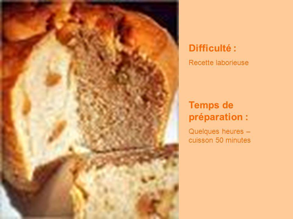 Difficulté : Recette laborieuse Temps de préparation : Quelques heures – cuisson 50 minutes