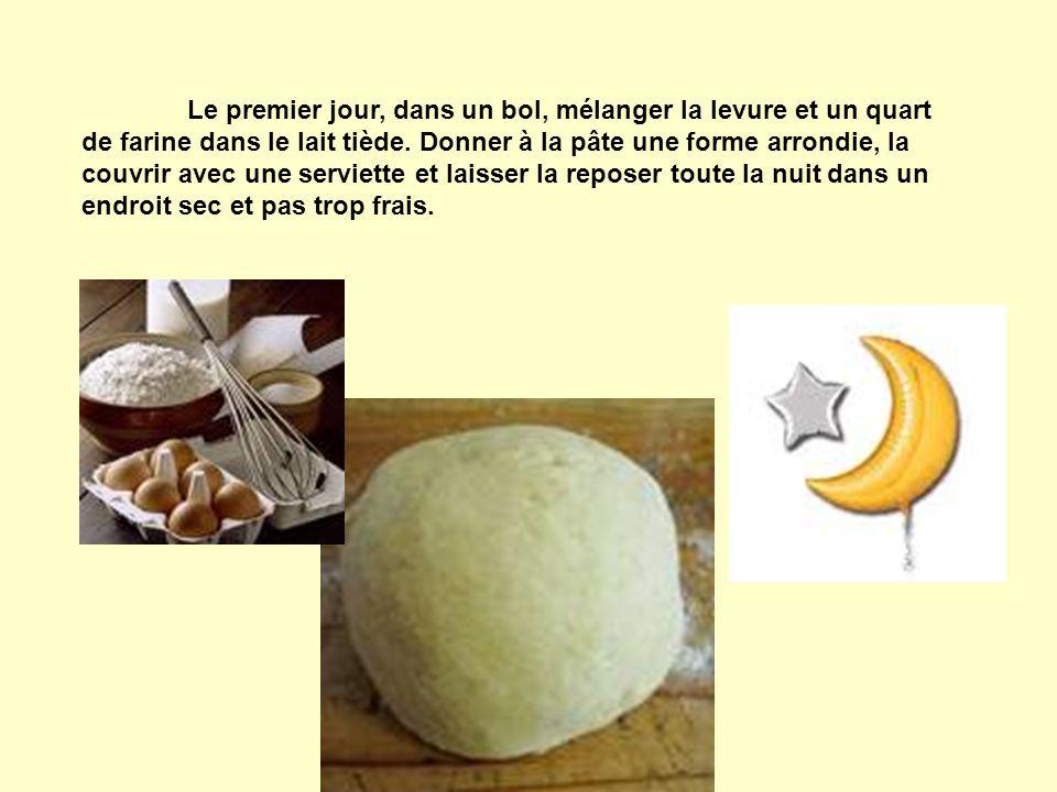 Le premier jour, dans un bol, mélanger la levure et un quart de farine dans le lait tiède. Donner à la pâte une forme arrondie, la couvrir avec une se