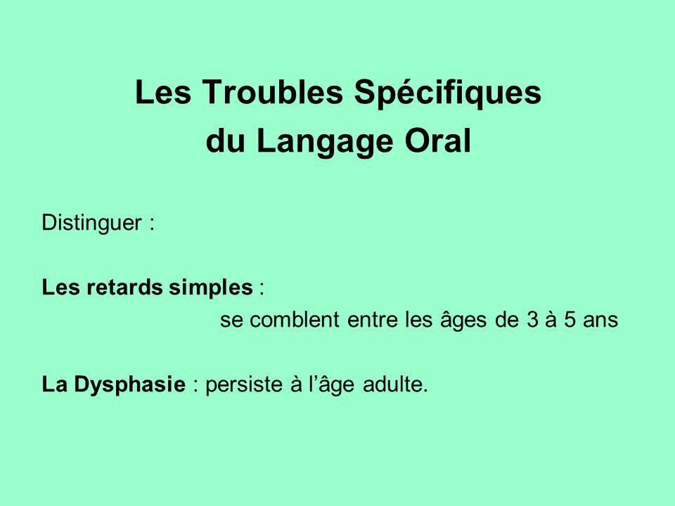 Les Troubles Spécifiques du Langage Oral Distinguer : Les retards simples : se comblent entre les âges de 3 à 5 ans La Dysphasie : persiste à lâge adu