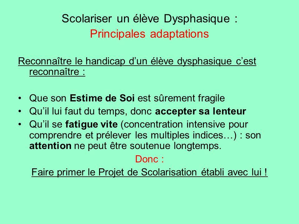 Scolariser un élève Dysphasique : Principales adaptations Reconnaître le handicap dun élève dysphasique cest reconnaître : Que son Estime de Soi est s
