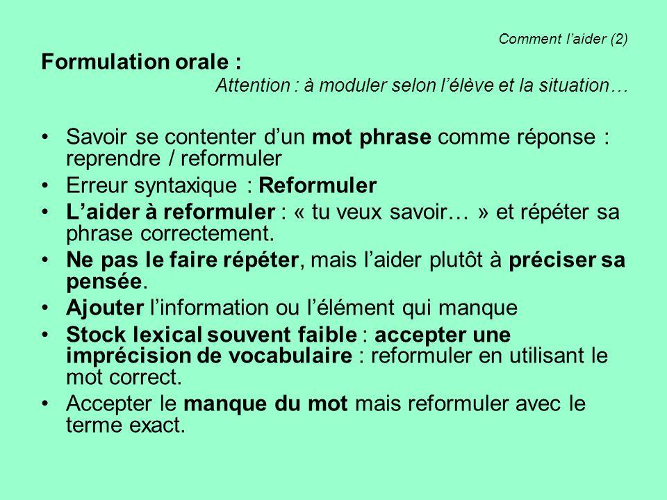 Comment laider (2) Formulation orale : Attention : à moduler selon lélève et la situation… Savoir se contenter dun mot phrase comme réponse : reprendr