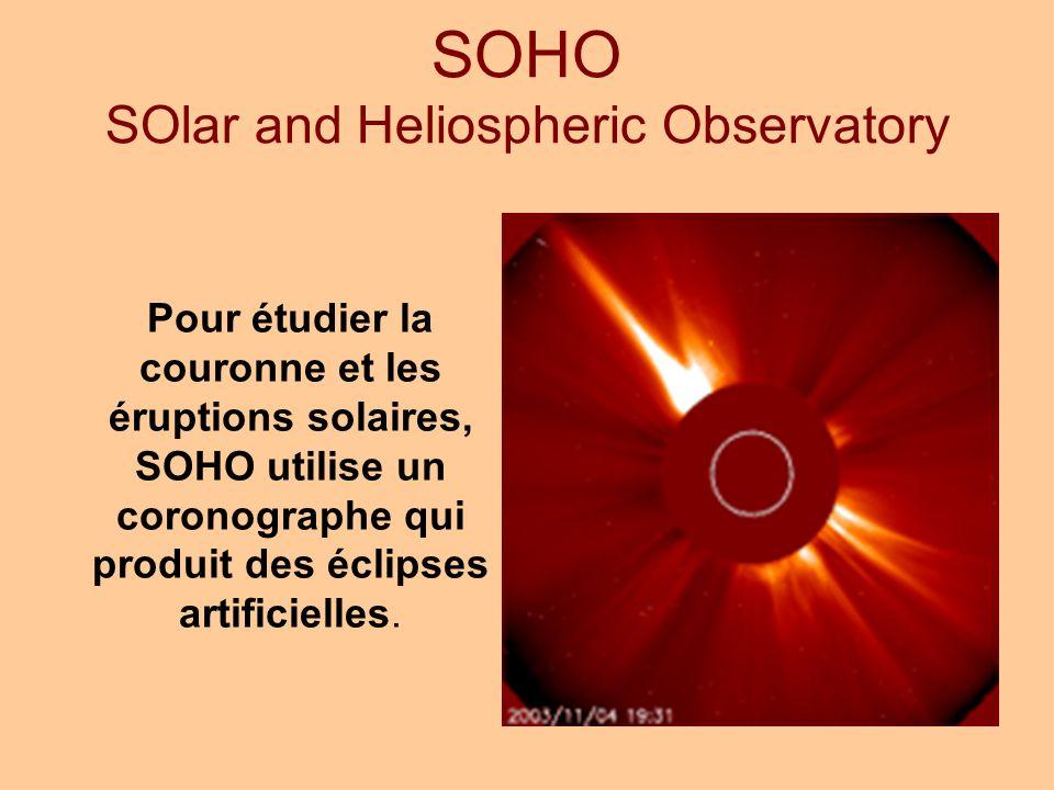 Pour étudier la couronne et les éruptions solaires, SOHO utilise un coronographe qui produit des éclipses artificielles.