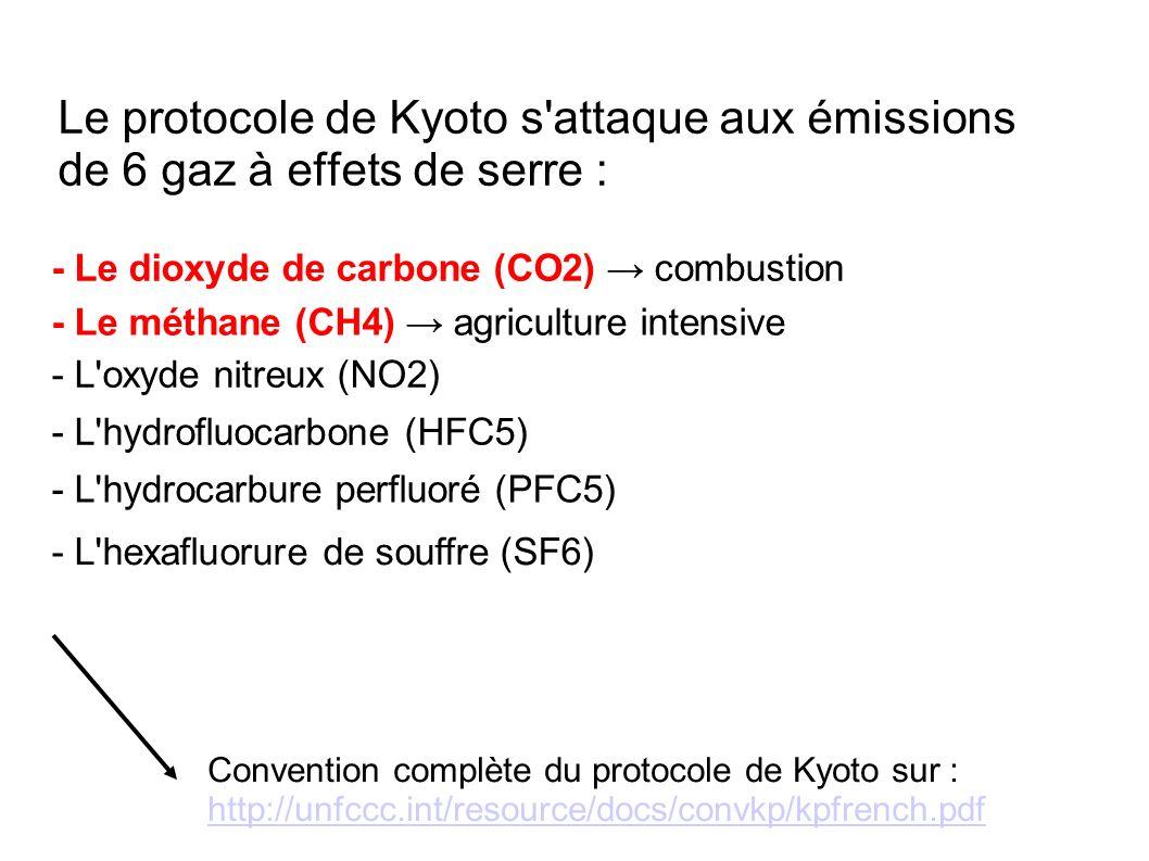 Le protocole de Kyoto s'attaque aux émissions de 6 gaz à effets de serre : - Le dioxyde de carbone (CO2) combustion - Le méthane (CH4) agriculture int