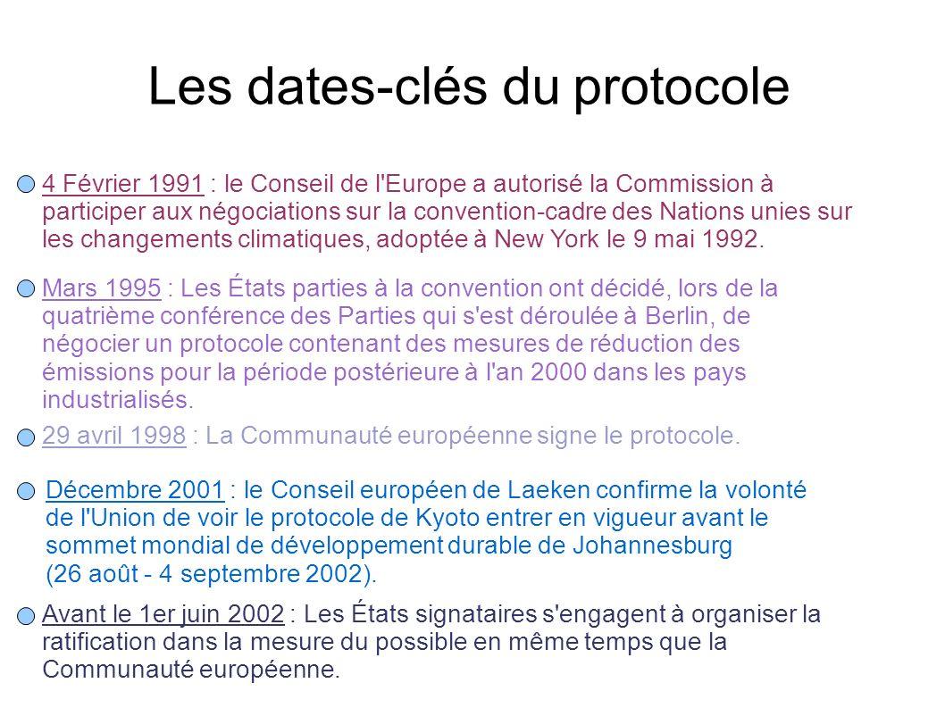 Les dates-clés du protocole 4 Février 1991 : le Conseil de l'Europe a autorisé la Commission à participer aux négociations sur la convention-cadre des