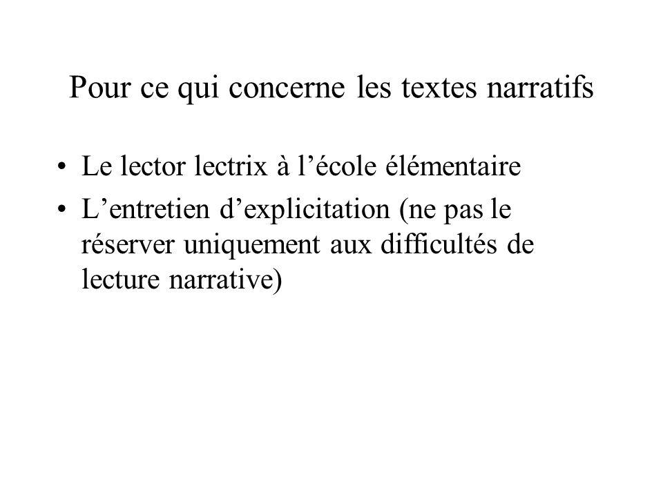 Pour ce qui concerne les textes narratifs Le lector lectrix à lécole élémentaire Lentretien dexplicitation (ne pas le réserver uniquement aux difficul