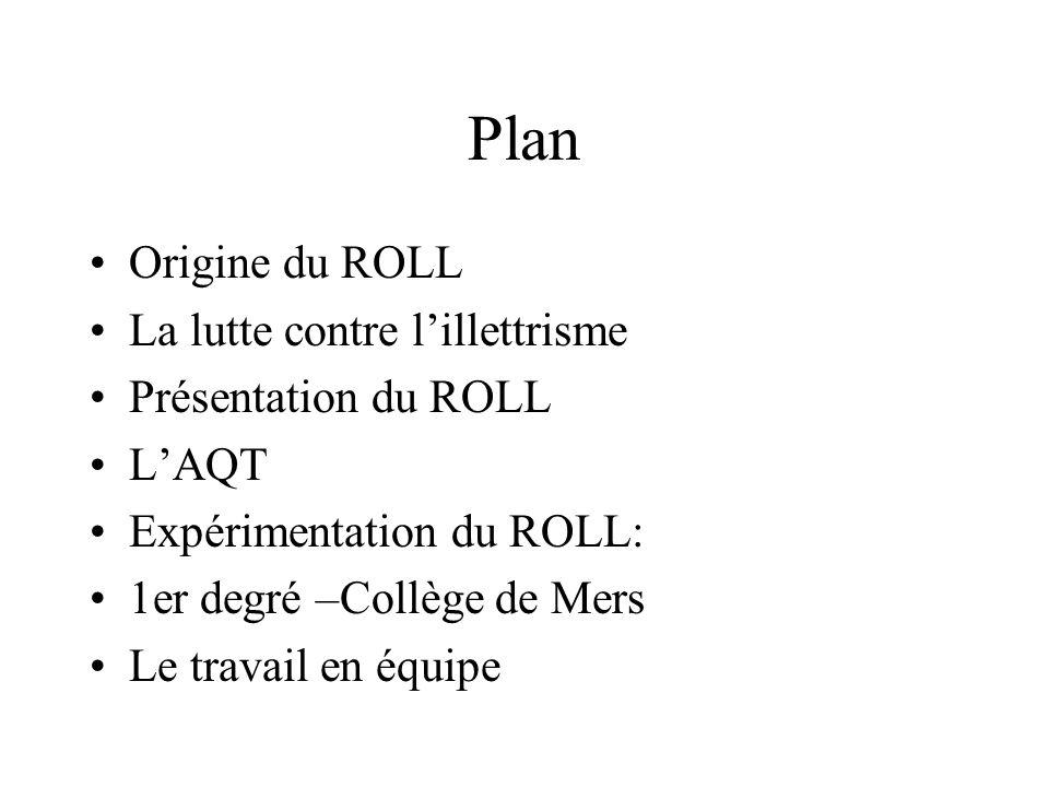 Présentation du dispositif Origine du ROLL (Réseau des Observatoires Locaux de la Lecture) Le ROLL a été créé en 1995 par Alain Bentolila et Jean Mesnager.