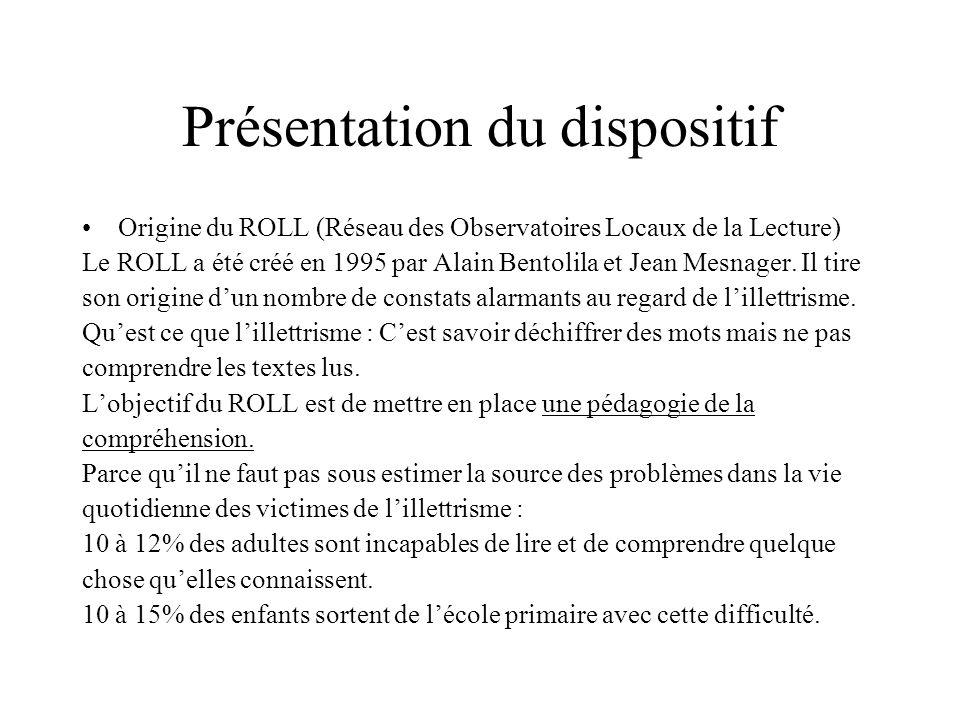 Présentation du dispositif Origine du ROLL (Réseau des Observatoires Locaux de la Lecture) Le ROLL a été créé en 1995 par Alain Bentolila et Jean Mesn