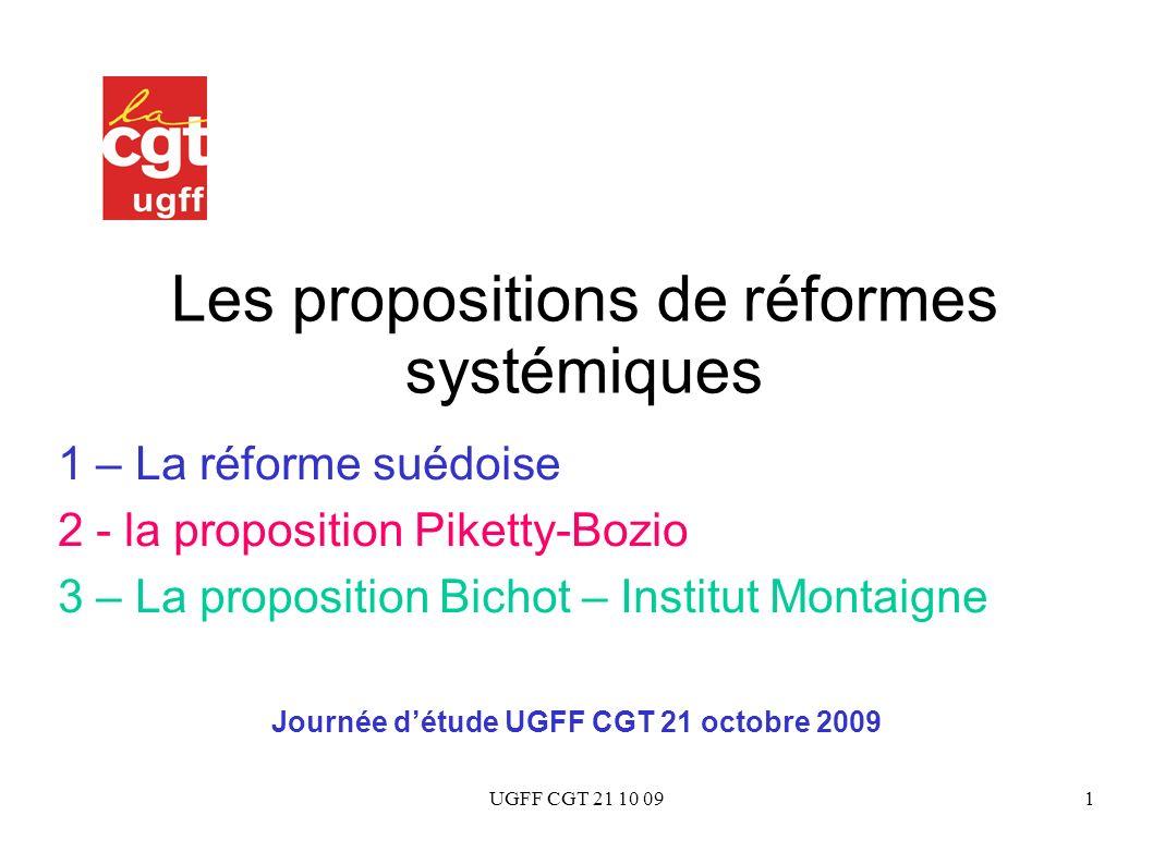 UGFF CGT 21 10 091 Les propositions de réformes systémiques 1 – La réforme suédoise 2 - la proposition Piketty-Bozio 3 – La proposition Bichot – Insti