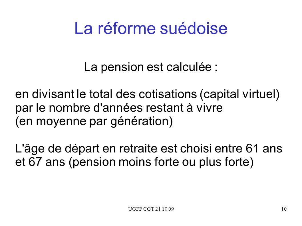 UGFF CGT 21 10 0910 La réforme suédoise La pension est calculée : en divisant le total des cotisations (capital virtuel) par le nombre d'années restan