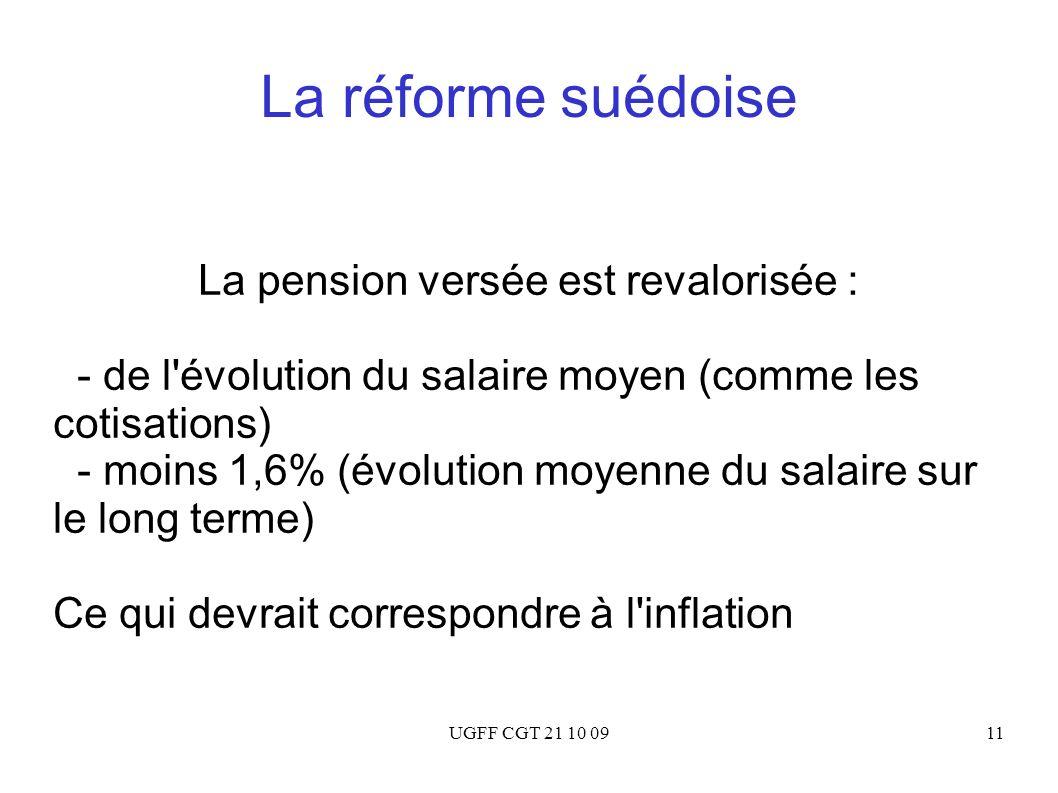UGFF CGT 21 10 0911 La réforme suédoise La pension versée est revalorisée : - de l'évolution du salaire moyen (comme les cotisations) - moins 1,6% (év