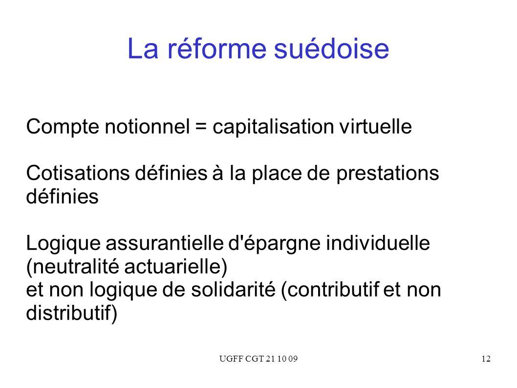 UGFF CGT 21 10 0912 La réforme suédoise Compte notionnel = capitalisation virtuelle Cotisations définies à la place de prestations définies Logique as