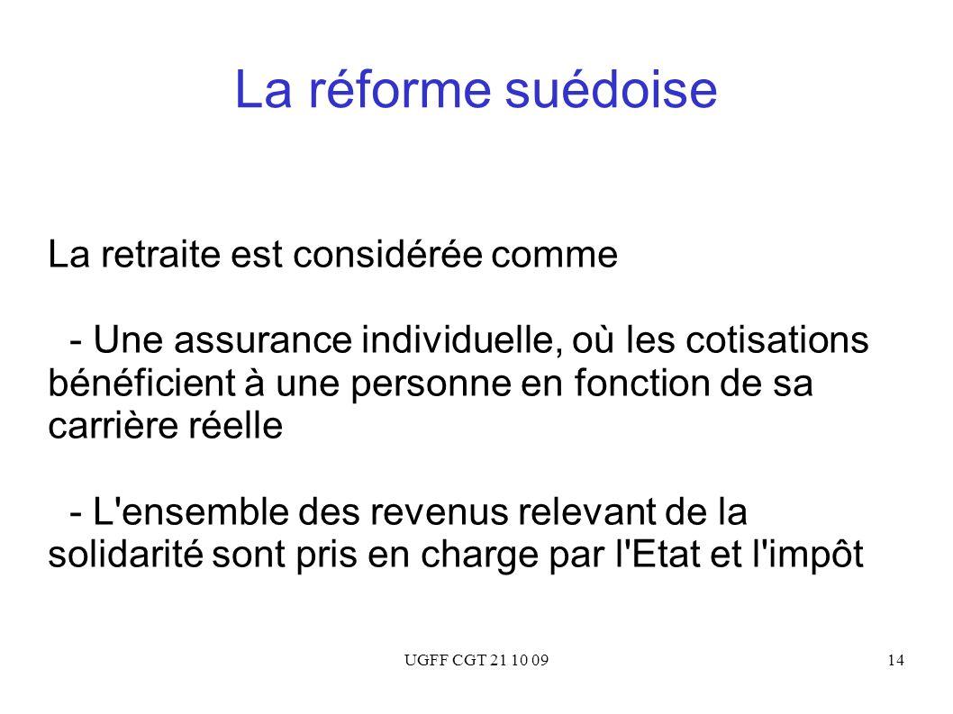 UGFF CGT 21 10 0914 La réforme suédoise La retraite est considérée comme - Une assurance individuelle, où les cotisations bénéficient à une personne e