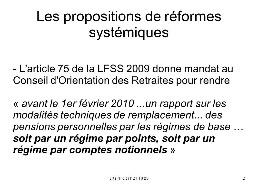 UGFF CGT 21 10 092 Les propositions de réformes systémiques - L'article 75 de la LFSS 2009 donne mandat au Conseil d'Orientation des Retraites pour re