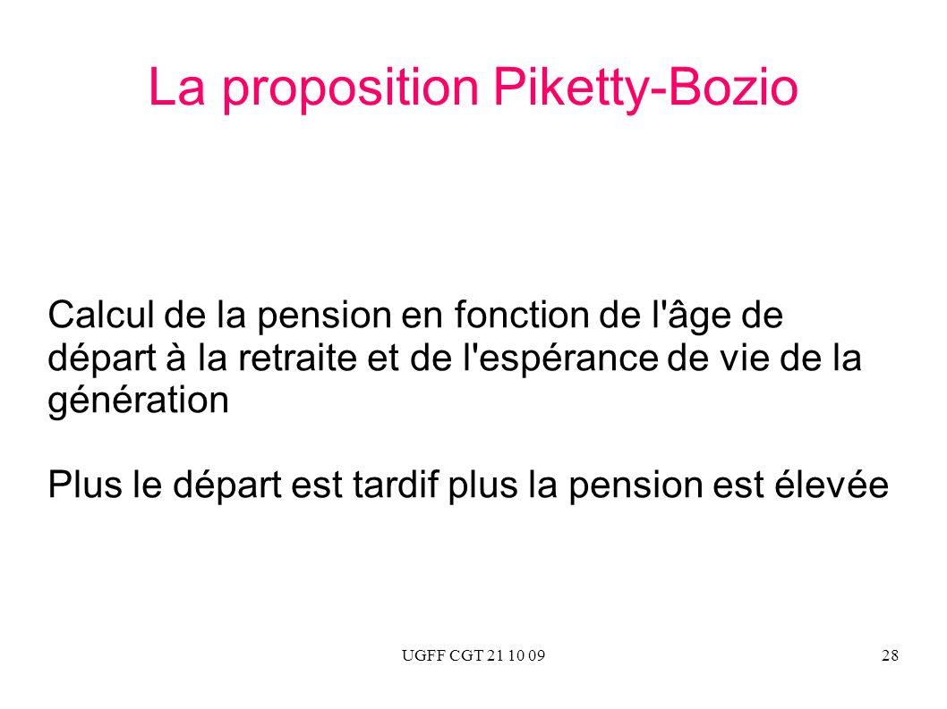 UGFF CGT 21 10 0928 La proposition Piketty-Bozio Calcul de la pension en fonction de l'âge de départ à la retraite et de l'espérance de vie de la géné