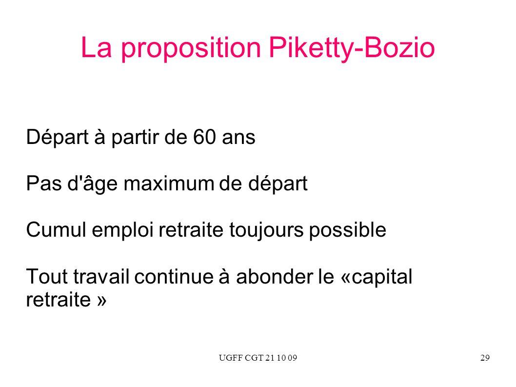 UGFF CGT 21 10 0929 La proposition Piketty-Bozio Départ à partir de 60 ans Pas d'âge maximum de départ Cumul emploi retraite toujours possible Tout tr