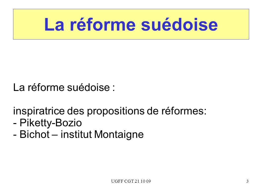 UGFF CGT 21 10 093 La réforme suédoise La réforme suédoise : inspiratrice des propositions de réformes: - Piketty-Bozio - Bichot – institut Montaigne