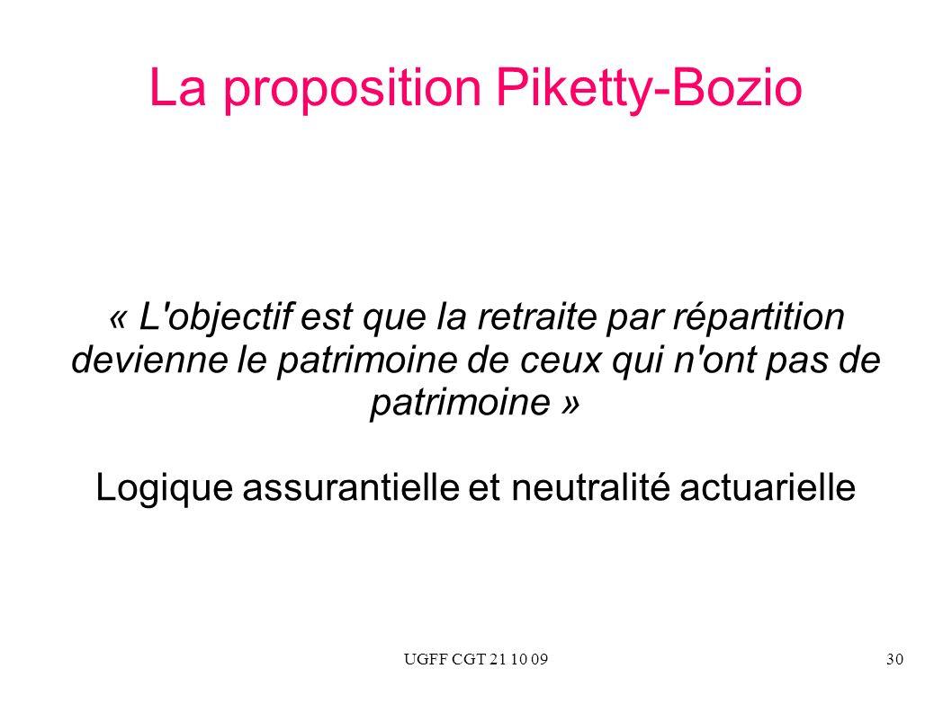 UGFF CGT 21 10 0930 La proposition Piketty-Bozio « L'objectif est que la retraite par répartition devienne le patrimoine de ceux qui n'ont pas de patr