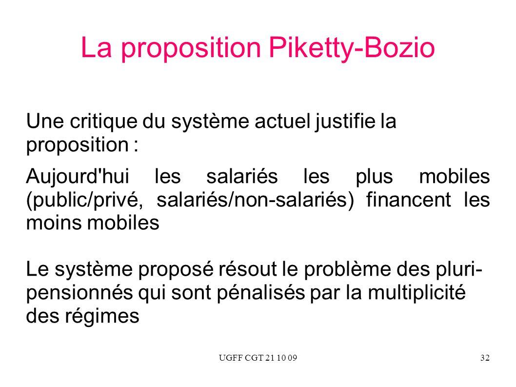 UGFF CGT 21 10 0932 La proposition Piketty-Bozio Une critique du système actuel justifie la proposition : Aujourd'hui les salariés les plus mobiles (p