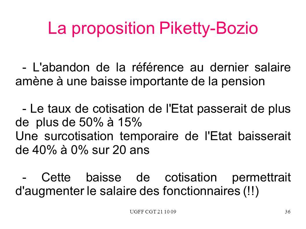 UGFF CGT 21 10 0936 La proposition Piketty-Bozio - L'abandon de la référence au dernier salaire amène à une baisse importante de la pension - Le taux
